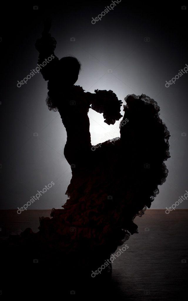 Silhouette of flamenco dancer