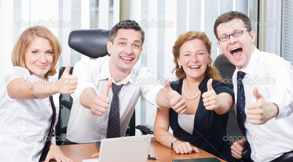 Happy Office Workers Stock Photo Image By Svyatoslavlipik 5134234