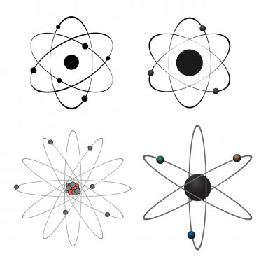 Four vector atom icons