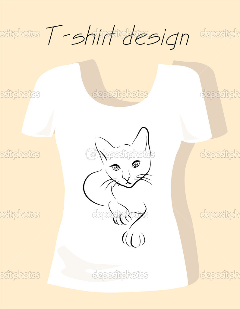 T shirt design with outline silhouette cat stock vector for Stock t shirt designs
