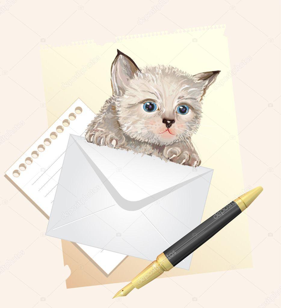 Fluffy kitten with envelope. Postage illustration