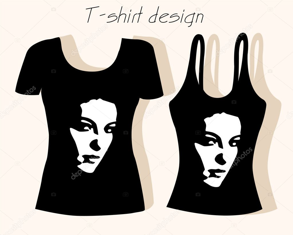 T shirt design with girl face stock vector sannare for Stock t shirt designs