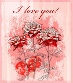 Valentines day greeting card with red rose and heart