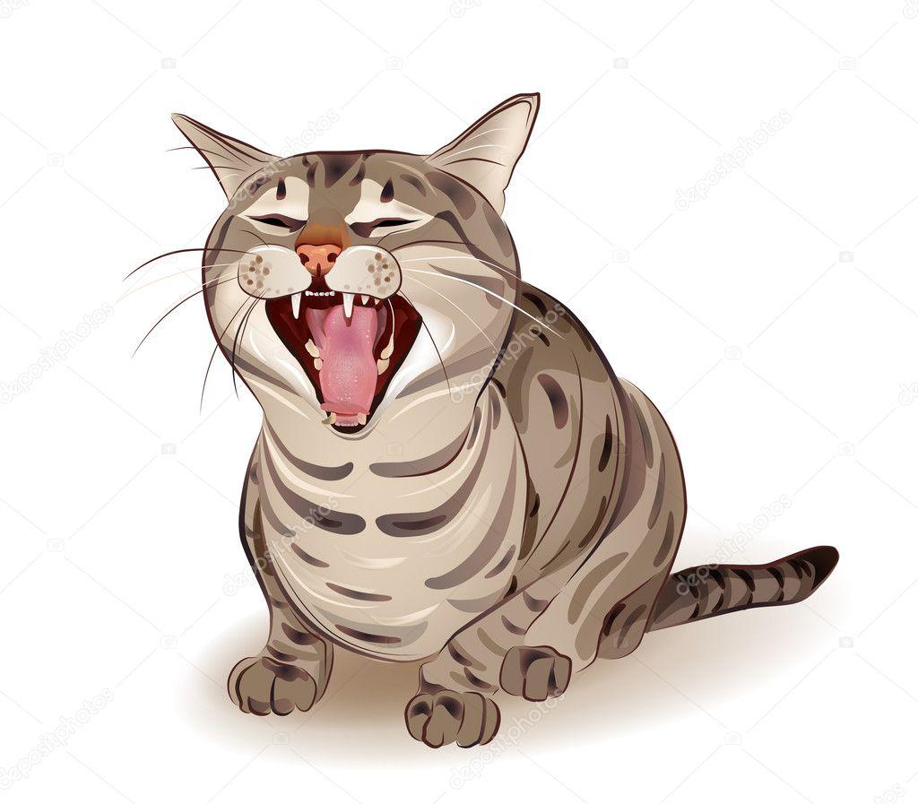 Yelling tabby cat — Stock Vector © sannare #5269146 Tabby Cat Cartoon Drawing