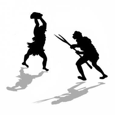 Silhouette two fight primitive persons