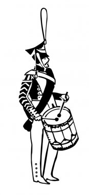 Silhouette of the army drummer on white background