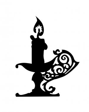 Silhouette of the candlestick on white background