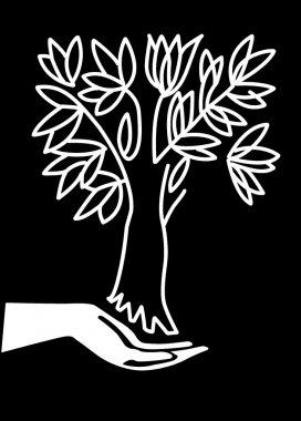 Vector illustration hand keeps tree
