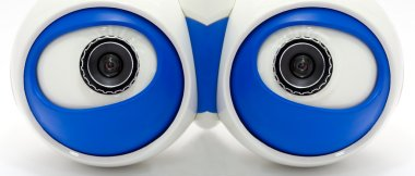 Eyes of the robot. A white robotic eyes looking