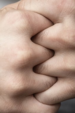 Male hands Combined together. Macro close-up.