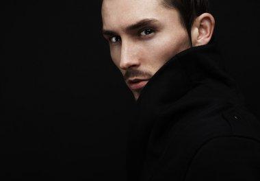 Young men portrait. Close-up face.
