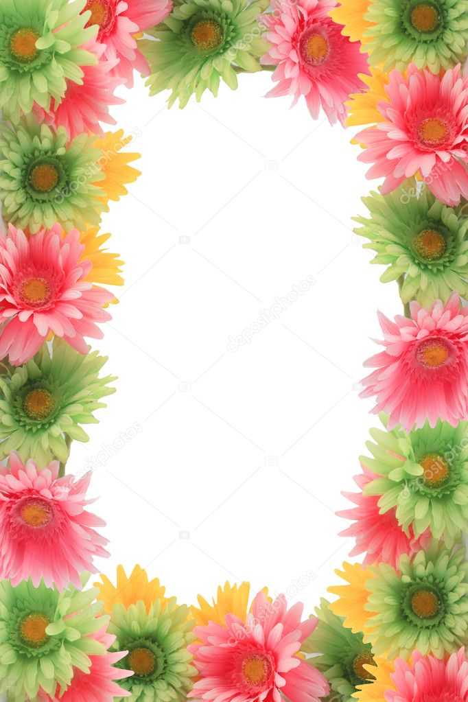 White Backgrounds With Colorful Borders Colorful floral spring...