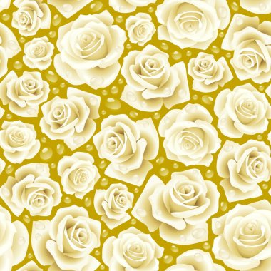 Vector white Rose seamless background 07