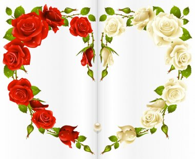 Red and white Rose frame in the shape of heart