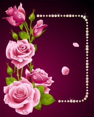 Vector rose and pearls frame. Design element.