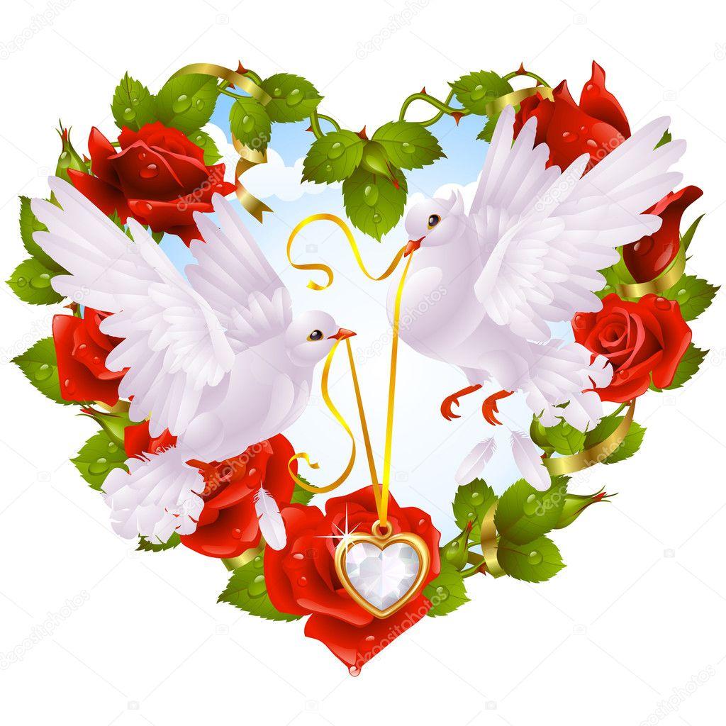 guirlande de rose en forme de coeur et couple colombe image vectorielle d e n i s 4102323. Black Bedroom Furniture Sets. Home Design Ideas