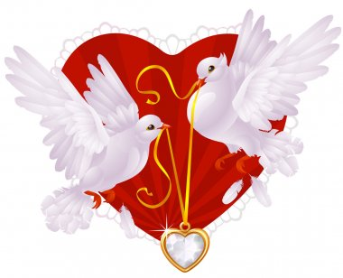 Two white pigeons and golden heart clip art vector