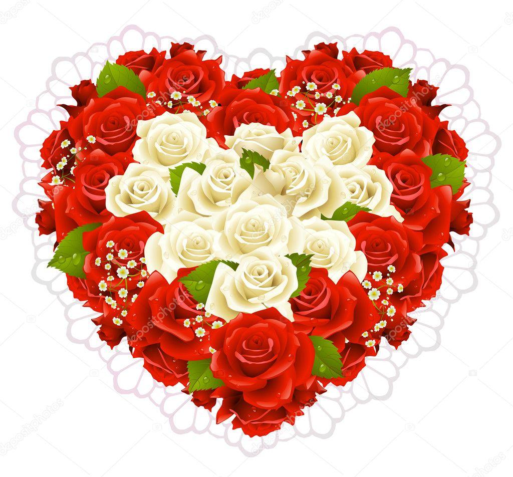 bouquet de roses en forme de coeur — image vectorielle d-e-n-i-s