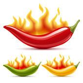 grüne, gelbe und rote Chilischoten