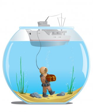 Diver in the aquarium with a treasure