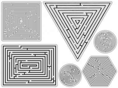 Mazes collection against white