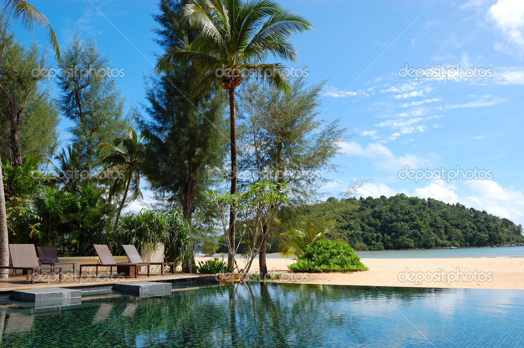 Swimming pool at the beach of luxury hotel, Phuket, Thailand