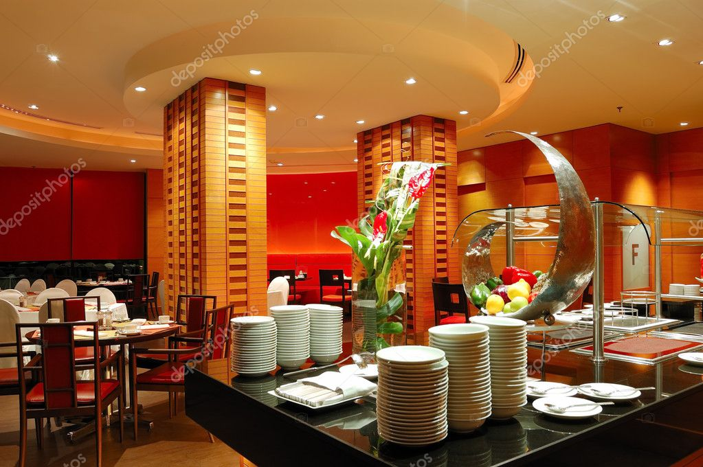 Modern restaurant interior in night illumination, Pattaya, Thail