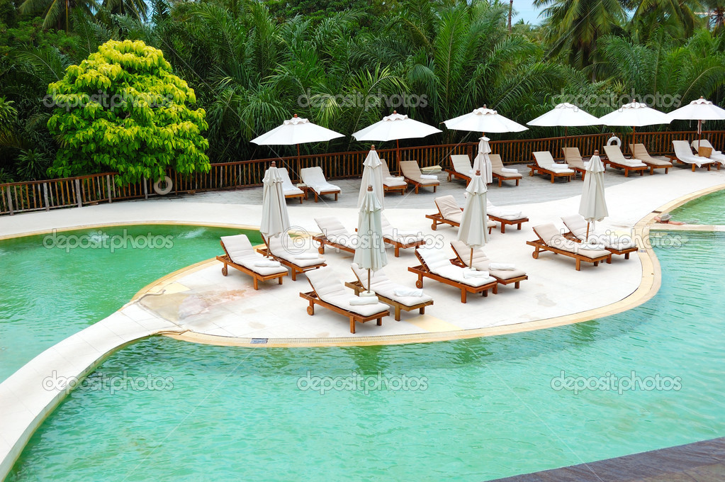 Swimming pool at the luxury hotel, Phuket, Thailand