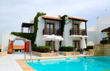 Modern luxury villa with swimming pool at luxury hotel, Crete, G