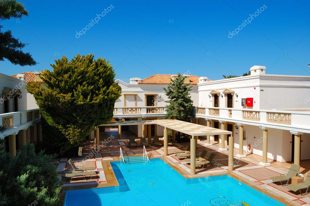 Moderne Luxus Villen Mit Pool, Luxus Hotel, Kreta, Griechenland U2014 Foto Von  Slava296