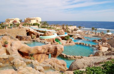 Waterpark at the beach of popular hotel, Sharm el Sheikh, Egypt