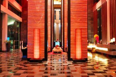 Modern lobby interior in night illumination, Pattaya, Thailand