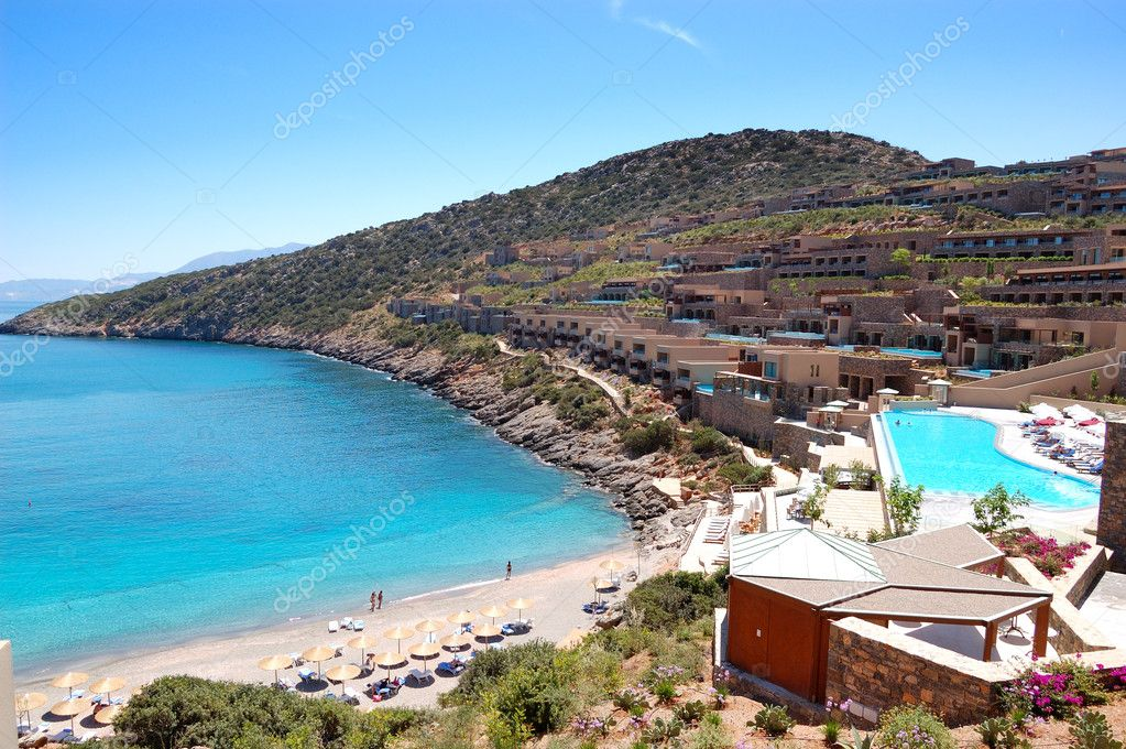 Recreation area and beach of the luxury hotel, Crete, Greece