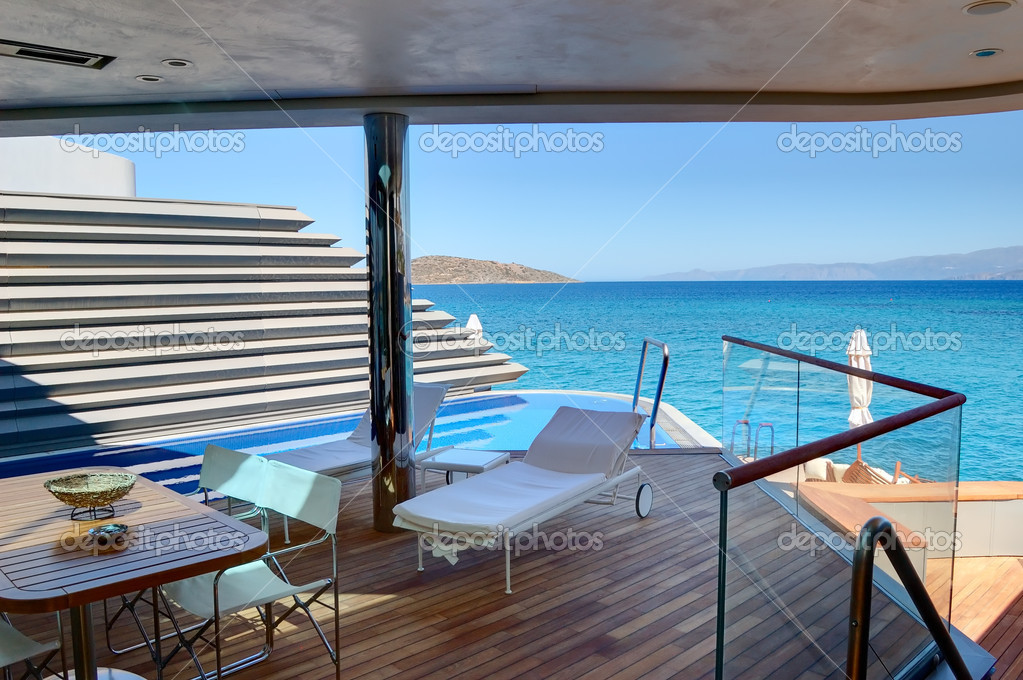 Outdoor recreation area of holiday villa at luxury hotel, Crete,