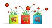 Fotografia si piazza con shopping cart, erba e fiori