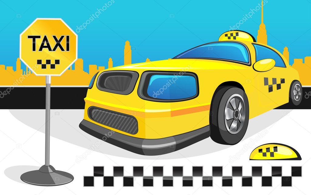 Yellow car taxi