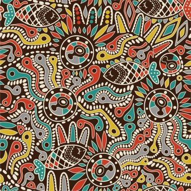 Ethnic seamless pattern with fish