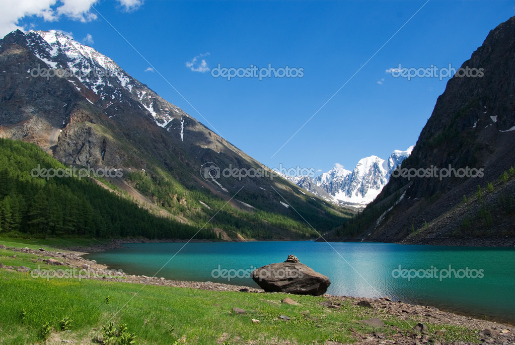 Mountain lake in background with high mountain