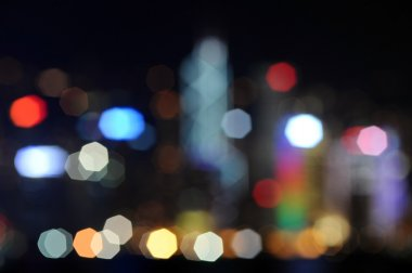 Defocused image of Hong Kong skyscrapers