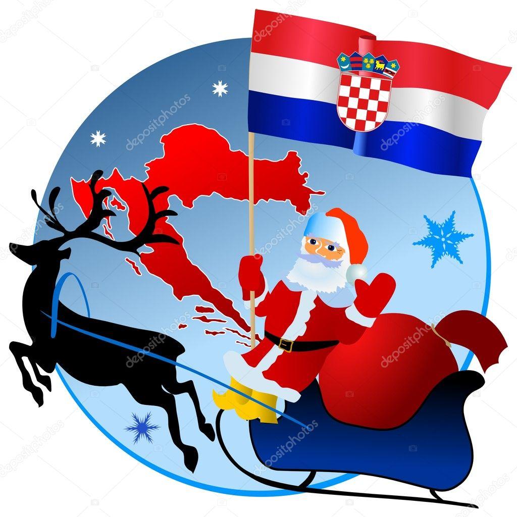 Weihnachten In Kroatien.Frohe Weihnachten Kroatien Stockvektor Perysty 4170472