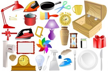 Set of vector home objects stock vector
