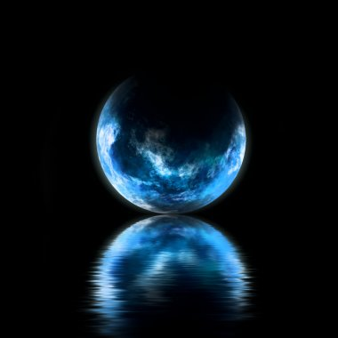 Blue planet with reflection