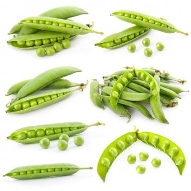 Set of ripe green pea in the pod isolated