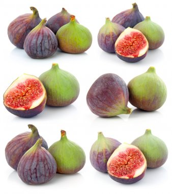 Set of Ripe sliced purple and green fig fruit isolated