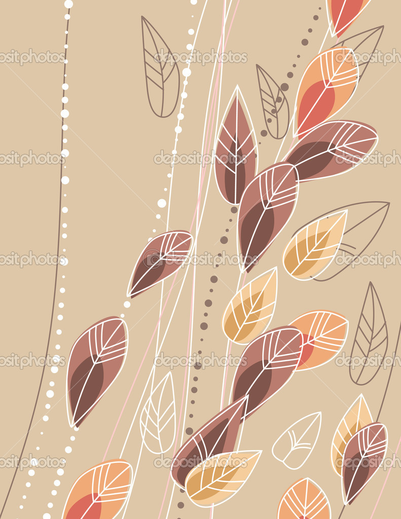 Beige background with contour leaves