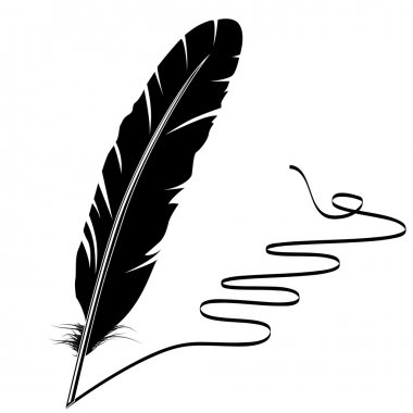 Vector mohochrome writing old feather and flourish clip art vector