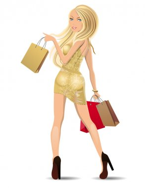 Young blond with shopping bags on white background clip art vector