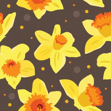 Seamless floral pattern with daffodils