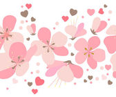 Photo Seamless floral border with pink cherry flowers