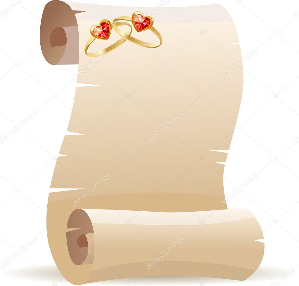 Pergamena Matrimonio Simbolico : Vecchia pergamena per invito matrimonio — vettoriali stock